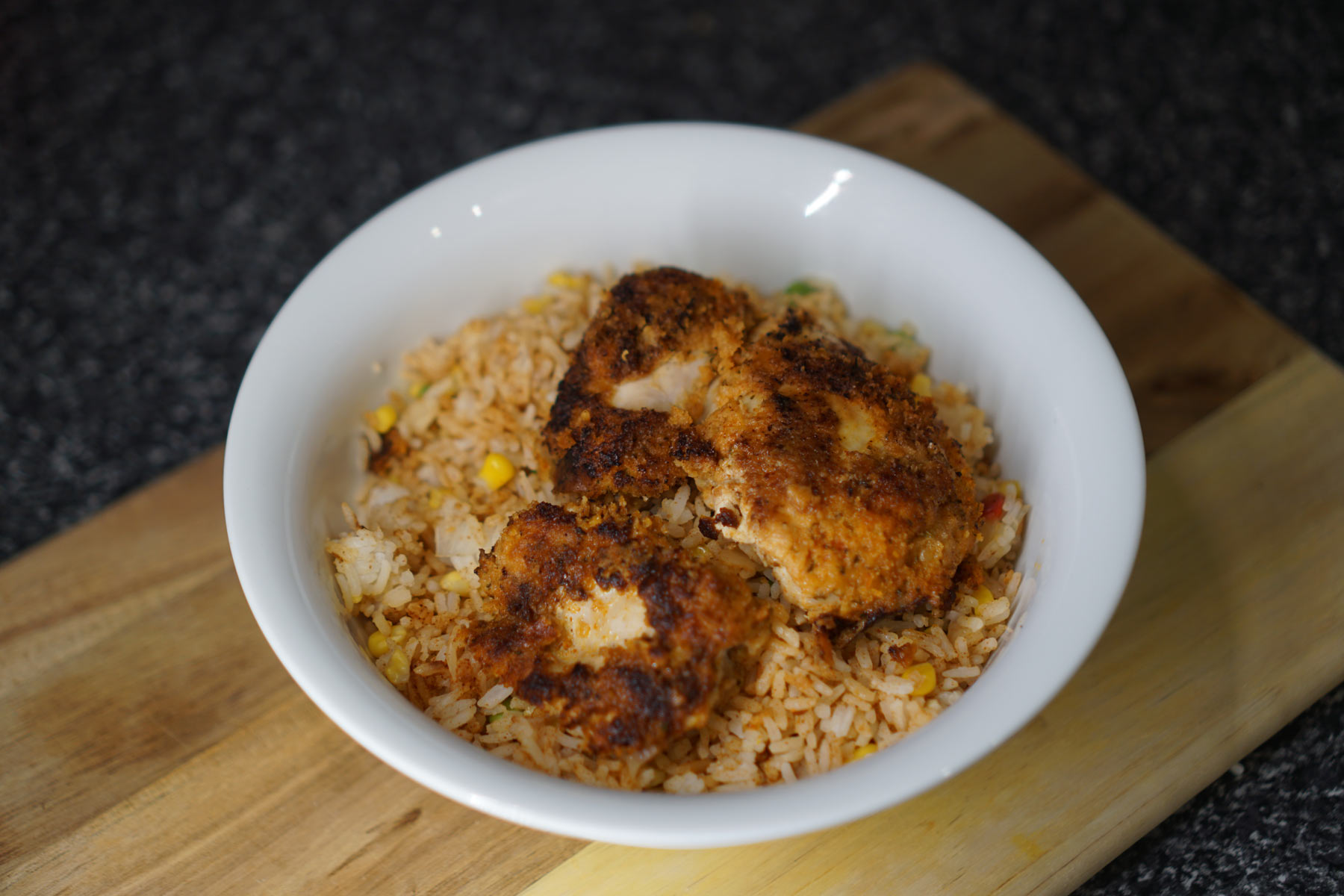 Thigh Schnitz with Spicy Rice