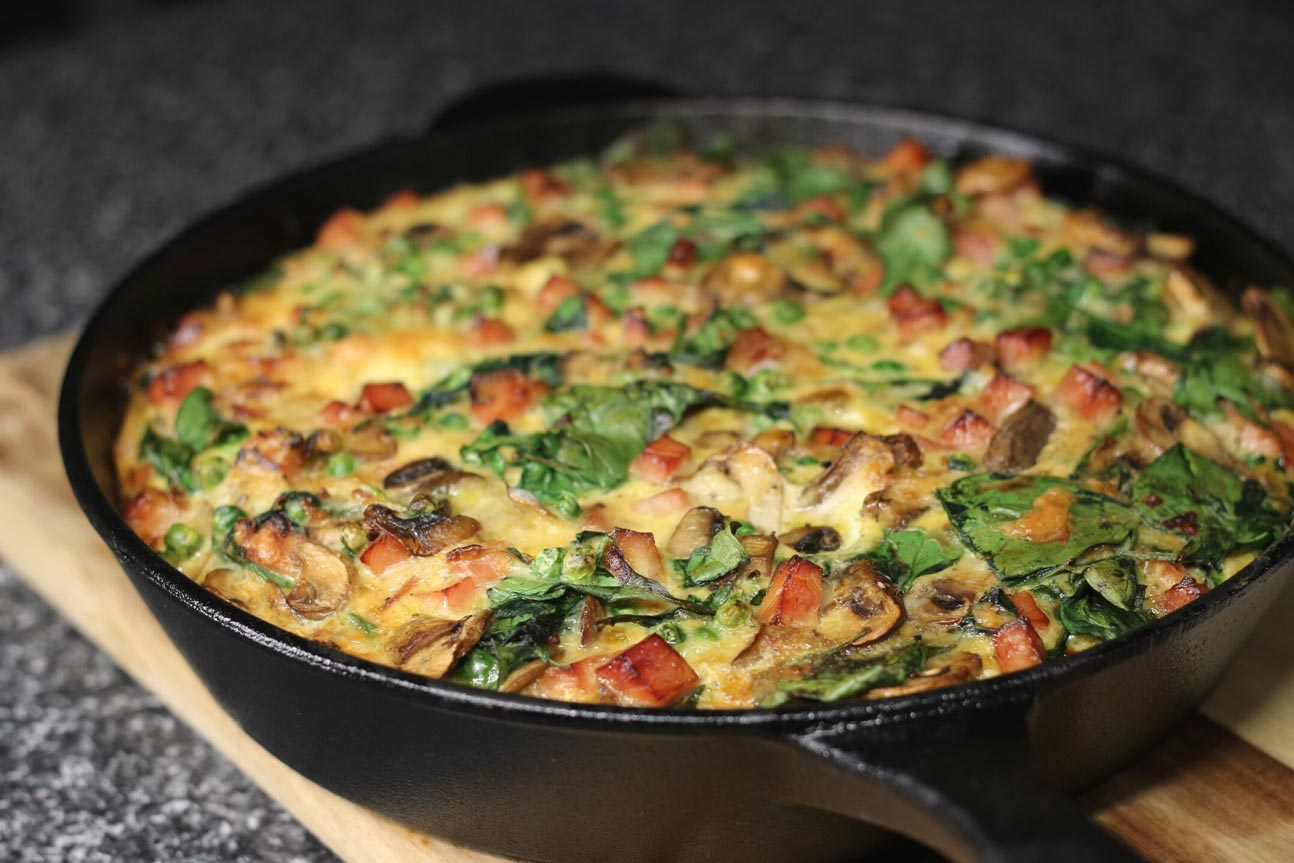 Bacon, Mushroom and Spinach Frittata