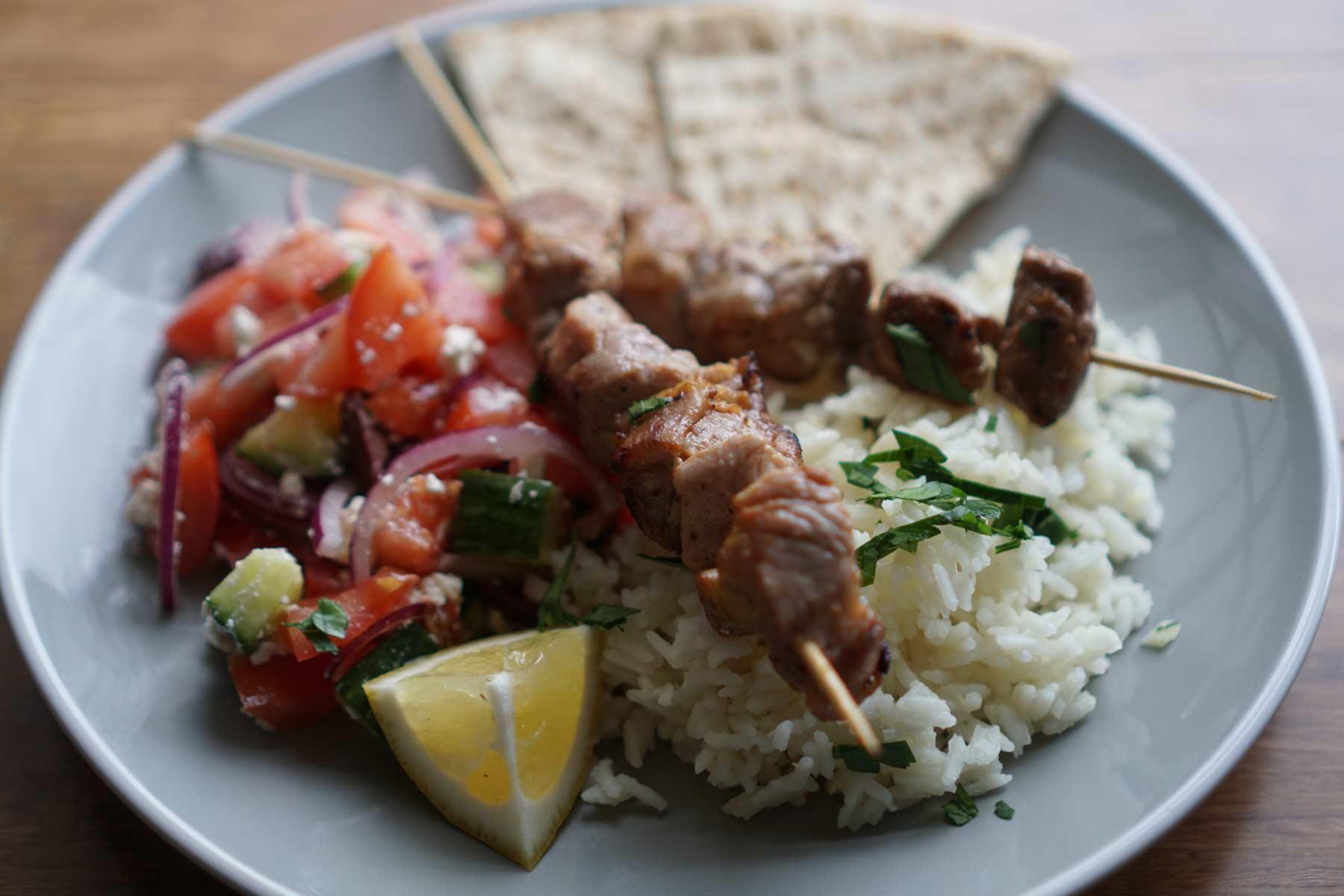 Pork Souvlaki with Greek Salad