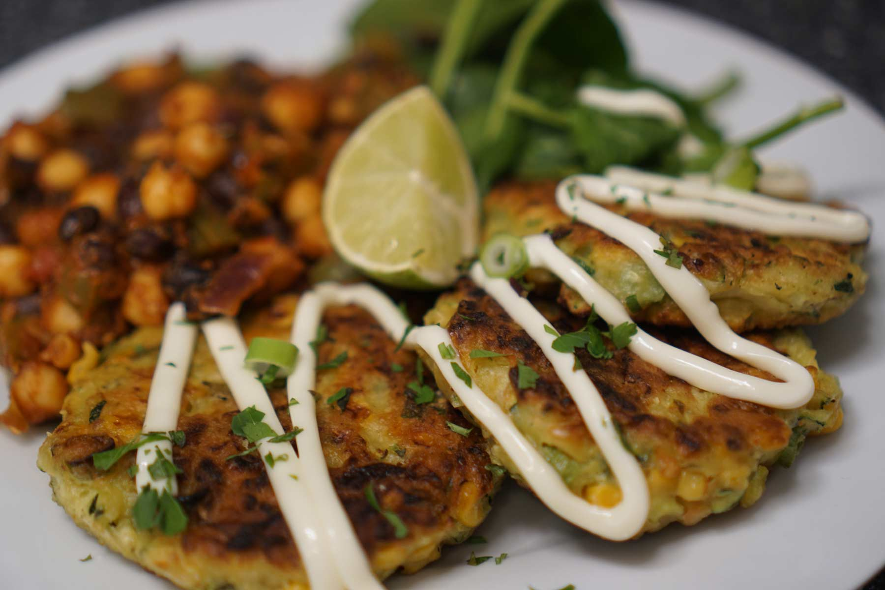 Zucchini and Corn Fritters With Black Bean Salsa
